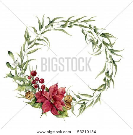 Watercolor eucalyptus wreath with bells, holly, mistletoe and poinsettia. Eucalyptus branch and christmas decor for design, print or background.