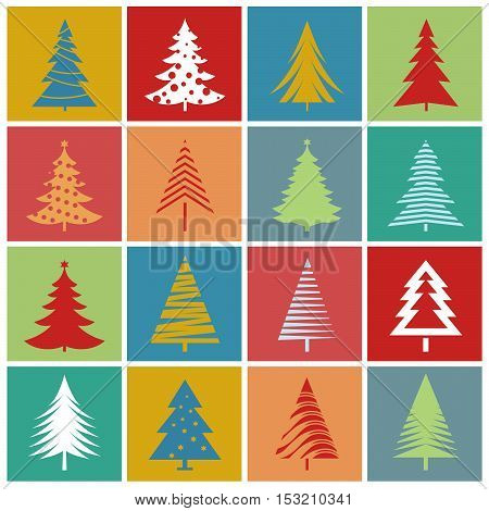 Christmas Trees. Vector Illustration, Texture and graphic elements.