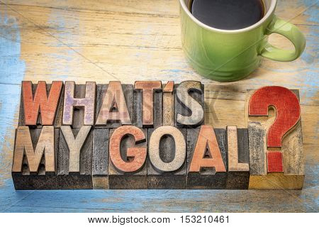 What is my goal? A question in vintage letterpress wood type with a cup of coffee