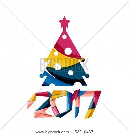 Christmas geometric banner, 2017 New Year. Vector illustration