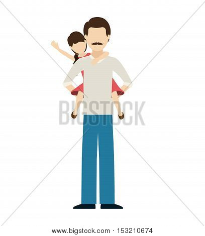 avatar man dad carrying his daughter on his shoulders over white background. vector illustration
