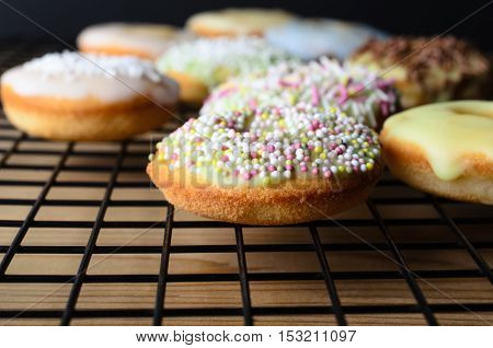 Home Baked Mini Doughnut Cakes With Sprinkles On Cooling Rack