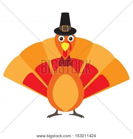 Isolated turkey with a traditional hat Thanksgiving day vector illustration