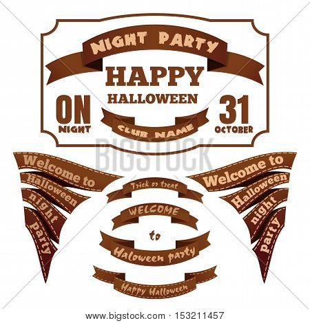 Halloween labels set. Labels and ribbons for Halloween. Halloween elements for your design and layout. Halloween symbols and attributes in vintage style. Vector illustration