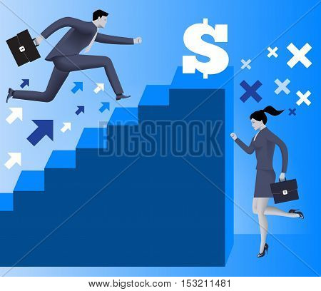 Gender inequality on career ladder business concept Business lady looks on steps of career ladder occupied by men. Concept of career inequality disparity gender differences. Vector.