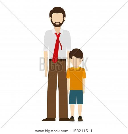 avatar man dad wearing red tie with his son over white background. vector illustration