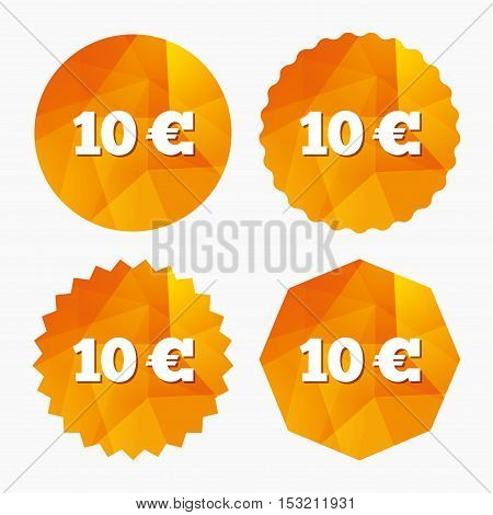 10 Euro sign icon. EUR currency symbol. Money label. Triangular low poly buttons with flat icon. Vector