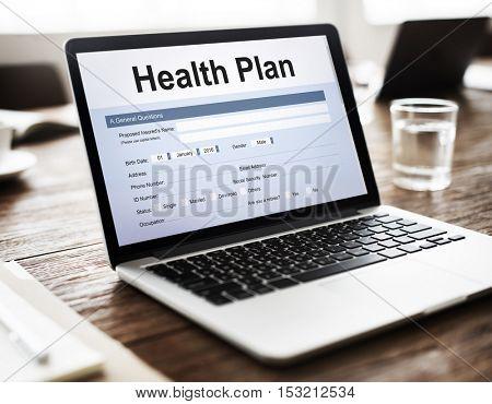 Health Plan Treatment Medical Document Form Concept