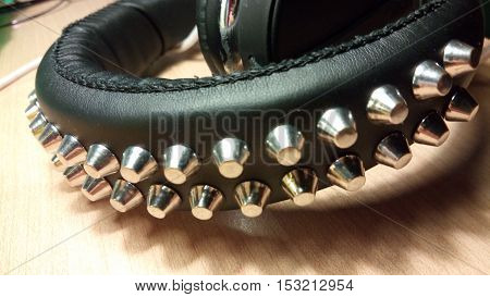 Rock headphones  with black spikes are beastly