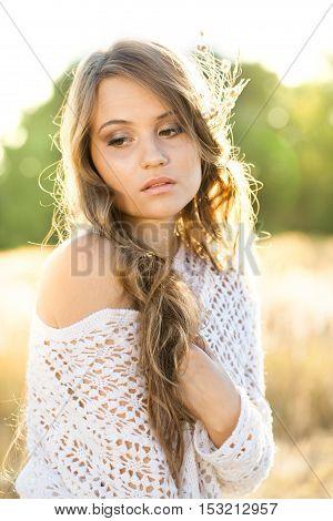 Beautiful Lady Model In An Open Field At Sunrise