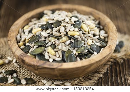 Old Wooden Table With Mixed Seeds (selective Focus)