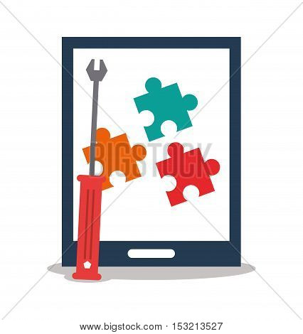 Tablet and screwdriver icon. digital marketing media and seo theme. Colorful design. Vector illustration