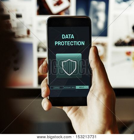 Data Protection Shield Secured Permission Graphic Concept