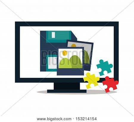 Computer puzzle pictures and diskette icon. digital marketing media and seo theme. Colorful design. Vector illustration