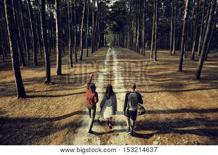 Friends Walking Exploring Outdoors Concept