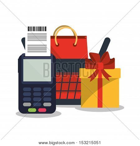 Dataphone gift bag and basket icon. Shopping online ecommerce media and market theme. Colorful design. Vector illustration