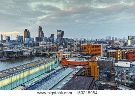 Panoramic Sunset skyline of city of London, England, Great Britain