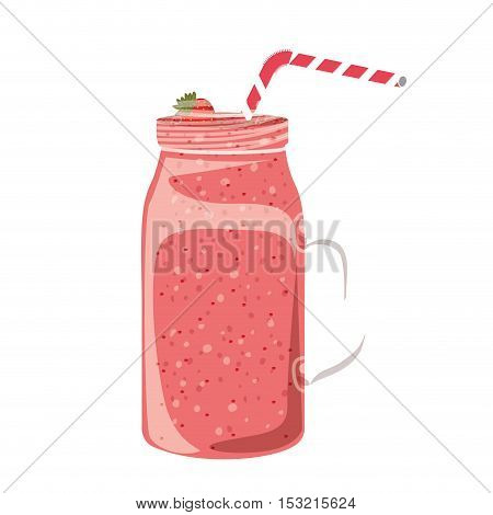 strawberry smoothie on mason jar with straw over white background. vector illustration