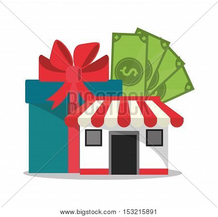 Gift store and bills icon. Shopping online ecommerce media and market theme. Colorful design. Vector illustration