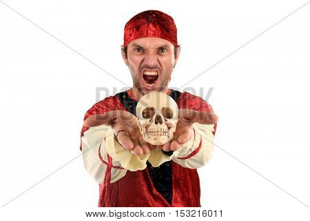 beautiful pirate, halloween and carnival costum (focus on the skull)