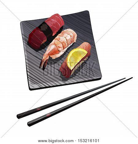 Isolated sushi illustration on a white background