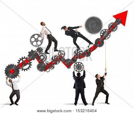 Teamwork build an arrow upwards with gears mechanism