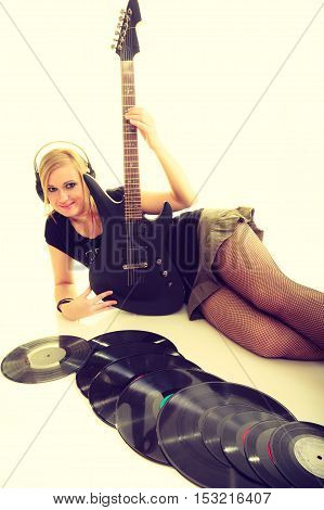 Woman With Electrical Guitar And Vinyl Record.
