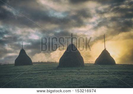 three haystack in foggy field, toned like Instagram filter