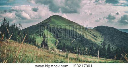 Carpathians mountain in summer time, toned like Instagram filter