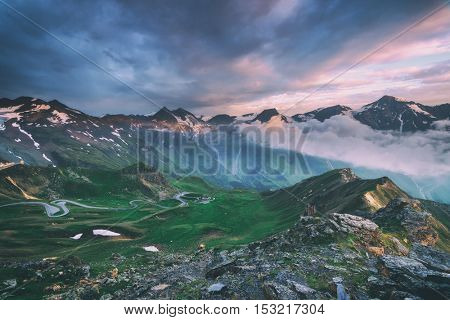 Amazing sunrice on the top of grossglockner pass, Alps, Switzerland, Europe. Toned like Instagram filter