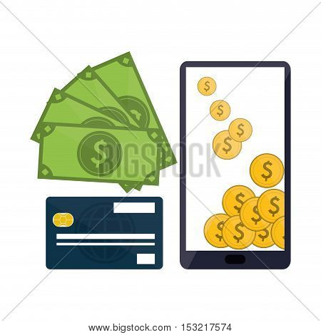 Smartphone coins bills and credit card icon. Shopping online ecommerce media and market theme. Colorful design. Vector illustration