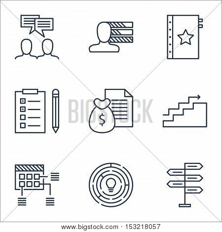 Set Of Project Management Icons On Schedule, Growth And Warranty Topics. Editable Vector Illustratio