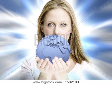 Girl Offering The World