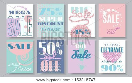Vector flat style Sale banners set. Big Sale advertising design for website and mobile website banners, email and newsletter, ads, promotional material. Can be used for posters, coupons, vouchers.