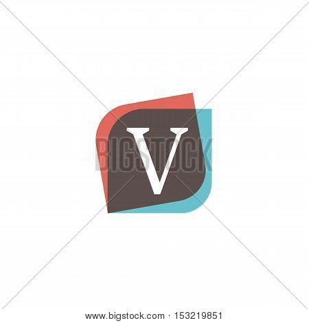 V letter sign retro company symbol vector design