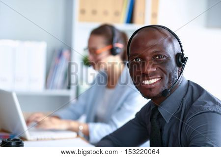 Portrait of an African American young business man with headset