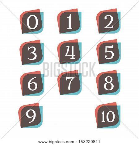 Numbers retro signs digit symbols logo company vector design