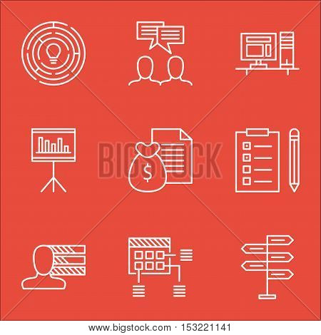 Set Of Project Management Icons On Innovation, Schedule And Personal Skills Topics. Editable Vector