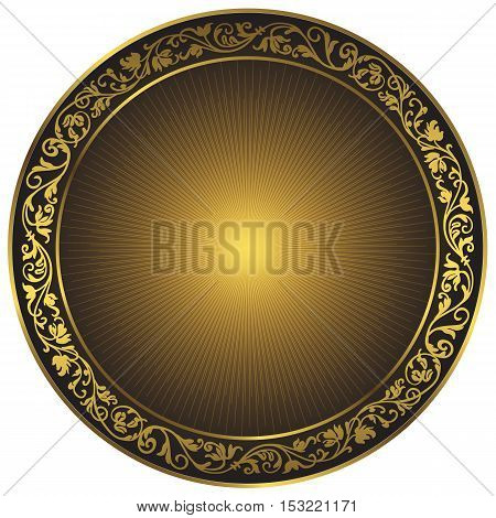 Gold and black vintage round isolated frame with rays over white vector