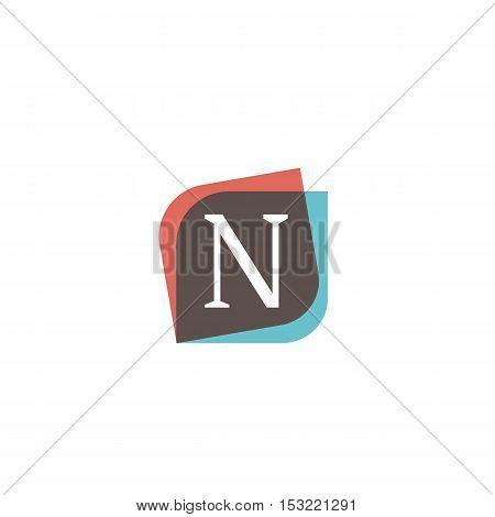 N letter retro sign company symbol vector design