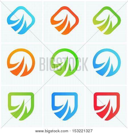 Abstract vector power icons company logotypes set