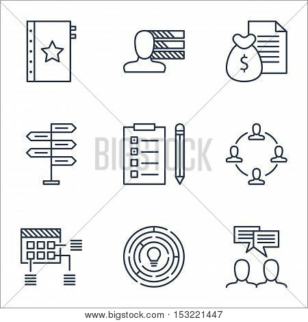Set Of Project Management Icons On Reminder, Warranty And Report Topics. Editable Vector Illustratio