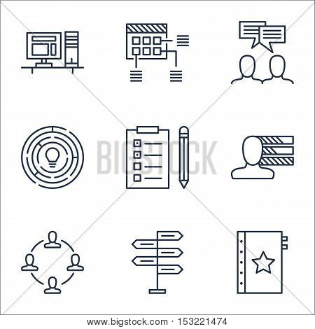Set Of Project Management Icons On Discussion, Collaboration And Opportunity Topics. Editable Vector