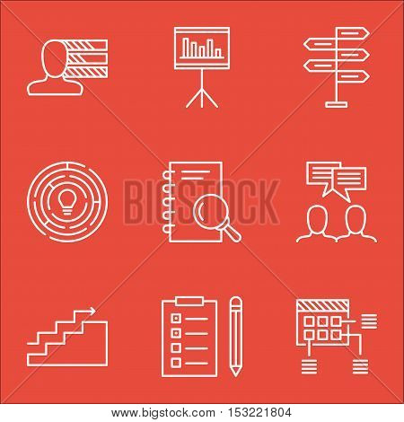 Set Of Project Management Icons On Innovation, Reminder And Personal Skills Topics. Editable Vector