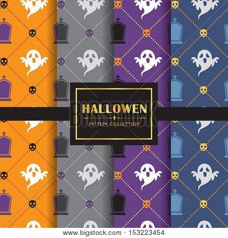 Halloween pattern set. Set of 4 different colour of halloween background. vector illustration. Ghost, gravestone & skull.