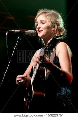 The Engine Rooms Southampton - October 21 2016: Lizzy Ward Thomas with British country duo Ward Thomas performing at the Engine Rooms