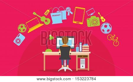 online shopping eCommerce from home vector illustration