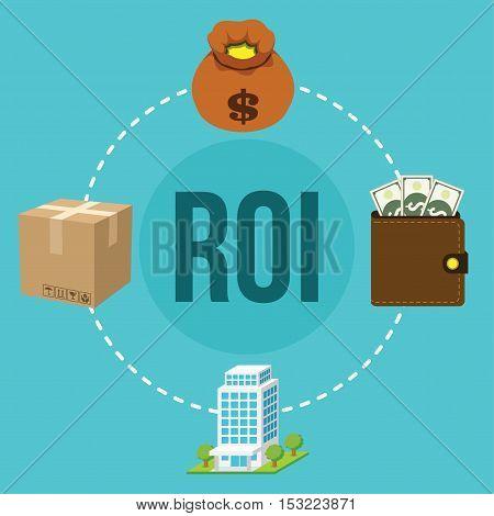 ROI return on investment money concept vector illustration