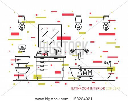 Bathroom with sink bowl bathtub vector line art illustration. Line graphic design of bathroom. Creative concept of interior design of bathroom with lights lavatory bath and mirror.