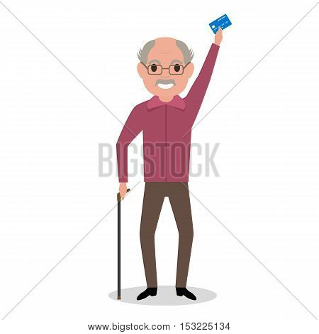 Vector illustration cartoon grandfather got a plastic credit card. Old man holding an electronic card payments. Receive a pension. Loan for pensioner. Concept of a happy old age, retirement.